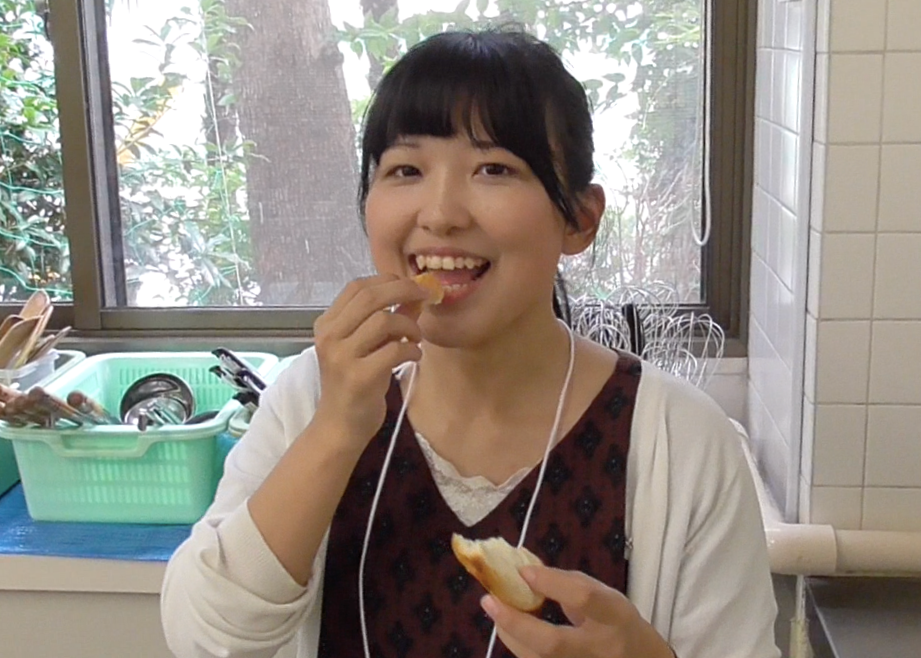 Chika eating the bread